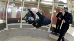 Todd Love backflying in the windtunnel with Instructor Niklas Daniel of AXIS Flight School.