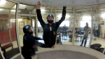 Todd Love working on back to belly transitions in the windtunnel with Instructor Niklas Daniel of AXIS Flight School.