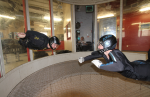 Todd Love flying in the windtunnel with Instructor Brianne Thompson of AXIS Flight School.