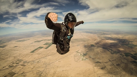 Todd Love during his grad jump over Skydive Arizona - flying in the head up orientation.